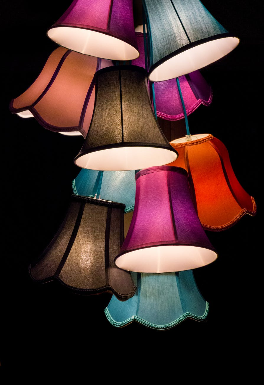 lampshades with colour